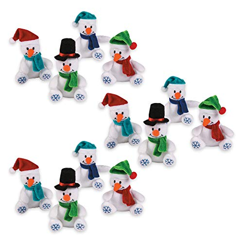 Fun Express Small Plush Stuffed Snowflake Snowmen (1 dozen) 4', Stocking Stuffers, Giveaways, Holiday Decor Accents
