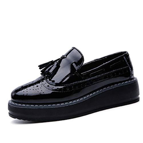 Mocasines De Mujer Oxford Zapatos De Cuero con Plataforma Mocasines Elegante Borla Antideslizante En Enredadera Caminando Zapatos De Conducción para Damas