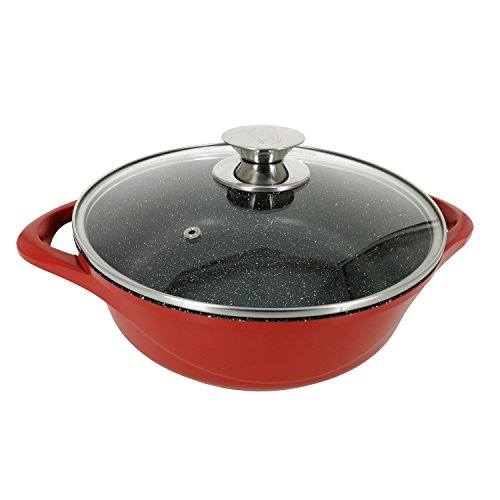 Garwarm Nonstick Stockpot/Sauce pans/Frying Pan/Cooker With Tempered Glass Lid,Granite Aluminum Coating,used on all types of stoves,Red,9.5 Inch