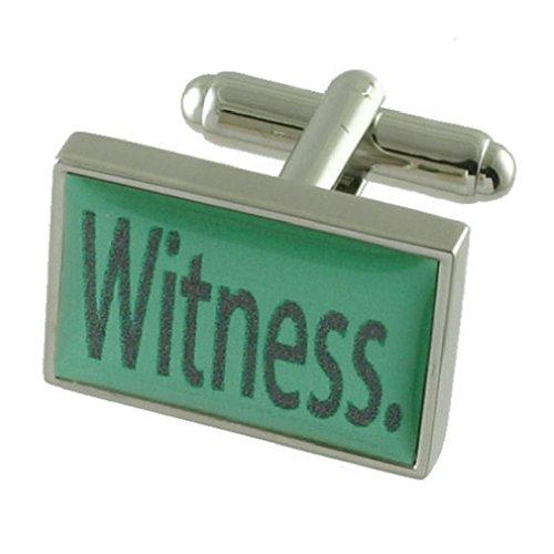 Témoin de mariage vert menthe manchette Sterling Silver