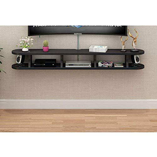 Wap Floating Tv Shelves Wood, Wall Mounted Media Console Entertainment Wall Shelf Hanging Tv Box Storage Shelves Routers Holder-Black 120Cm(47Inch) / Black / 120cm(47inch)