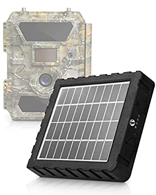 CREATIVE XP Trail Camera Solar Panel Kit - Waterproof 9-12V Solar Charger with 2400 mAh Rechargeable Lithium Battery - Outdoor Power System for All Hunting Cameras