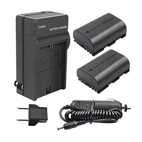 TURPOW LP-E6 LP-E6N Battery Charger Set 2 Pack 2600mAh Replacement Battery Compatible with Canon EOS 80D 60D 60Da EOS 70D EOS 5D Mark II EOS 5D Mark III EOS 5DS EOS 5DS R EOS 6D EOS 7D 7D Mark II