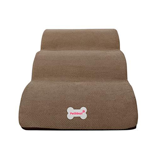 DDK Haustiertreppe Hundetreppe, Treppen für Hohe Betten, Hunderampe Atmungsaktives rutschfest Schlafsofa Leiter Weiche für Katzen Hunde Khaki L (3 Treppen)