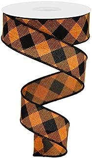Diagonal Plaid Check Wired Edge Ribbon - 10 Yards (Orange, Black, 1.5