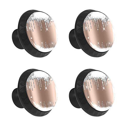 FCZ 4 pomos de cajón con efecto brillante, color rosa plateado y gris, con forma de círculo, con tornillos, para el hogar, la cocina, la oficina
