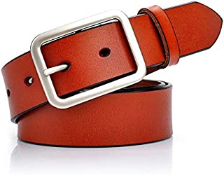 Happy-L Classic Retro Women's Wide Belt Simple Female Leather Dress Pants Wild Simple Belt Casual Wide Belt (Color : Brown)
