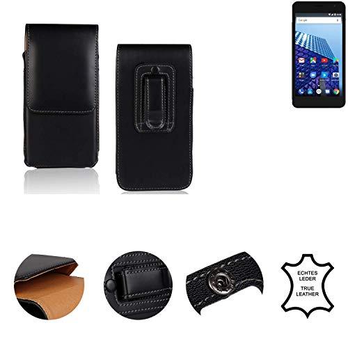 K-S-Trade® Holster Gürtel Tasche Für Archos 50 Access 3G Handy Hülle Leder Schwarz, 1x
