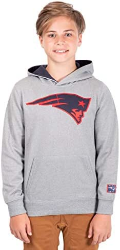 Ultra Game NFL New England Patriots Youth Extra Soft Poly Dry Fleece Pullover Heather Gray Large product image