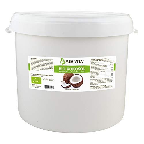 Meavita Aceite De Coco Orgánico Meavita, Insípido (Desodorizado), Paquete De 1 (1 X 25L) 25000 ml