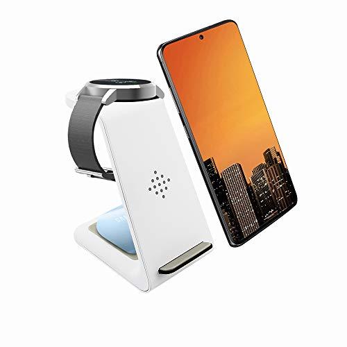 Caricatore wireless 3 in 1 per ricarica rapida compatibile con Samsung Galaxy Watch/3/Active2/1/Galaxy Buds +/Samsung Galaxy S21 Ultra 5G / S21 + 5G / S20 / S10 / S9 / S8 / iPhone 12/11 / XR/XS