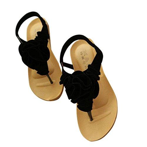 Baigoods Women Flower Summer Bohemia Sweet Sandals Clip Toe Sandals Beach Ankle Elastic Band Shoes (US:8, Black)