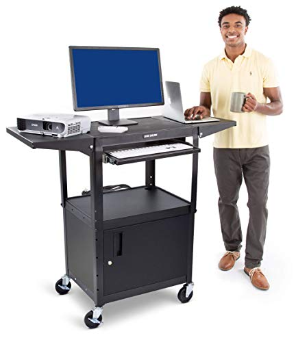 Line Leader AV Cart with Locking Cabinet and Drop Leaves - Height Adjustable Utility Cart with Extra Storage - Power Strip and Cord Management - Great for Presentations (Black / 46 x 18)