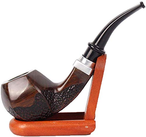Mnjin Elegante Pipa para Fumar Tabaco Pipa para Fumar Tabaco Pipa clásica de ébano doblado Pipa de Madera Marrón Oscuro Tallado Vintage Cigarrillos portátiles Desmontables Pipa para Puros re