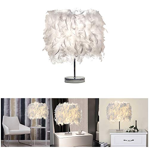 Feather Table Lamp White Beside Bed lamp Feather Lampshade Table Night Light Desk Lamp Shade Creative Home Decor for Bedroom Livingroom