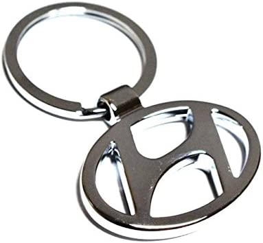 eShop24x7 Chrome Plated Steel Imported Key Chain Key Ring car Logo for Hyundai i10 i20 Elite Santa Santro Getz Accent...