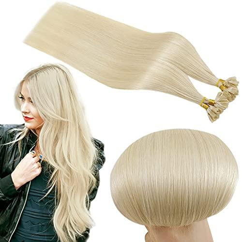 RUNATURE Extension de Cheveux Bleu 14 Pouces Couleur 60 Blonde Platine 40g 50 Plage Vrais Cheveux Humain Natural Keratin Hair Extension