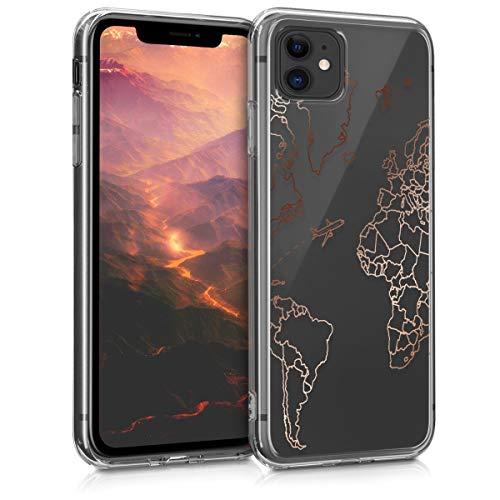 kwmobile Cover Compatibile con Apple iPhone 11 - Back Case Custodia Posteriore in Silicone TPU Cover per Smartphone - Back Cover Travel & Explore Oro Rosa/Trasparente