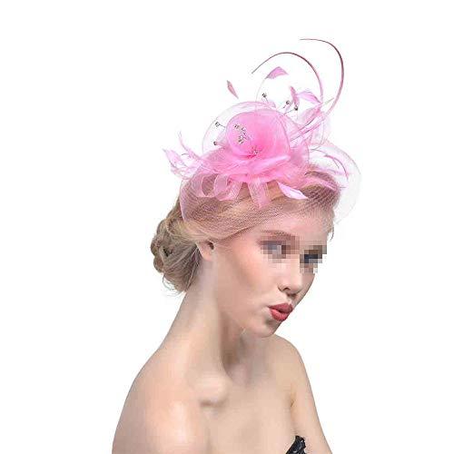 Arielflora-Accessoires Chapeau De Fascinators Fascinator Net Veil Voile De Mariage Lin De Thé Haut De Chapeau Tiara Bague Cheveux De Mariée pour Cocktail Royal Ascot (Color : Pink)