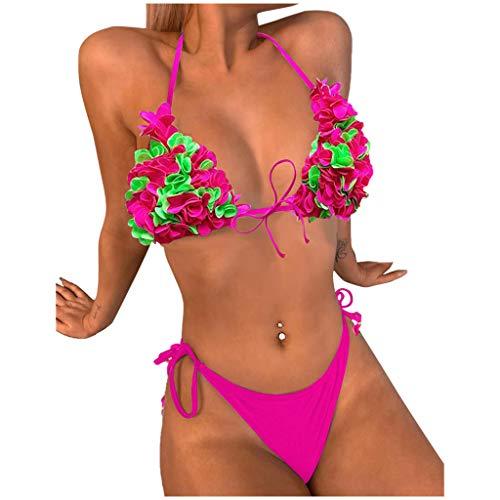 LOPILY 3D Blumen Bikini Set Damen Triangel Bikinis Neckholder Bademode Brazilian Style Strandbikini mit String Gepolstert High Waist Strandbikini Geteilter Strandponcho Schwimmanzug (Hot pink, L)