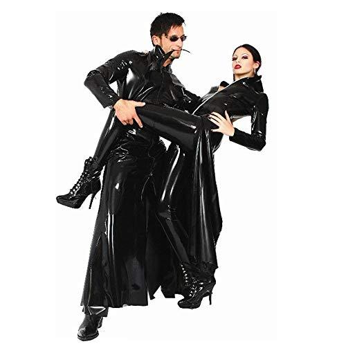 CAGYMJ Mannen Vrouwen Halloween Cosplay Kleding, Volwassen Hacker Killer Zwart Patent Lederen Windbreaker, Kostuum Party Game Jurk Robe pak