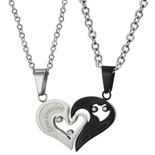 ubeauty19992pcs su y su corazón Puzzle Juego de acero inoxidable pareja collar conjunto regalo del amante