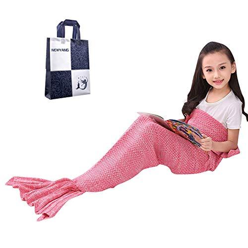 NEWYANG Meerjungfrau Flosse Decke Decke Meerjungfrau, Meerjungfrau Decke Rosa,Meerjungfrau Decke Kinder,Geschenke Für Mädchen,Spielzeug Für Mädchen, Kinder (Kid Rosa Pink)