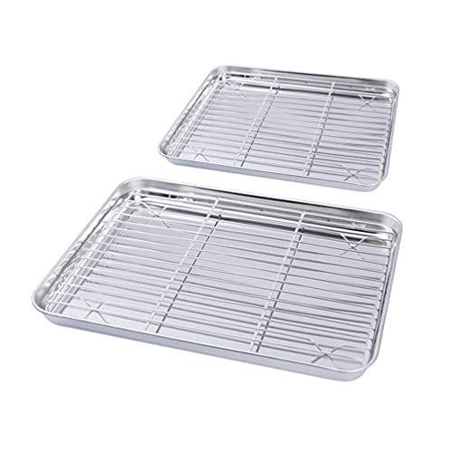 Cabilock 2 Piezas de Lámina para Hornear con Bandeja de Acero Inoxidable Bandeja para Galletas Bandeja para Hornear con Rejilla de Refrigeración para Cocina Casera