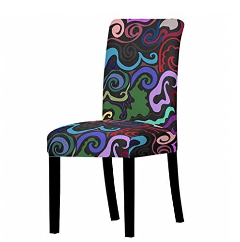 Fundas para sillas de respaldo alto poliéster Spandex elástico silla de comedor fundas protectoras de silla de cocina fundas de asiento estampado de graffiti color