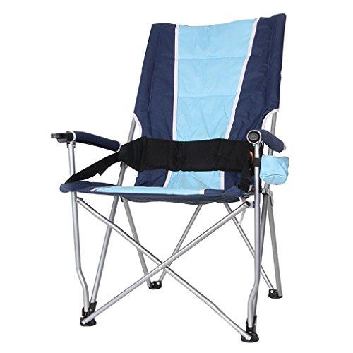 MUTANG Chaise Pliante en Plein air Haute Dos Loisirs Chaise de pêche Tabouret Pliant Barbecue Auto Drive Chaise de Table de Plage Portable (Couleur : Bleu)