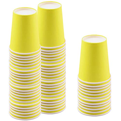 JINLE 60 Pezzi Giallo Bicchieri di Carta USA e Getta, Biodegradabili e Compostabile Bicchieri Monouso per Feste, Compleanni, per Fai da Te, Vacanze - 255 ml