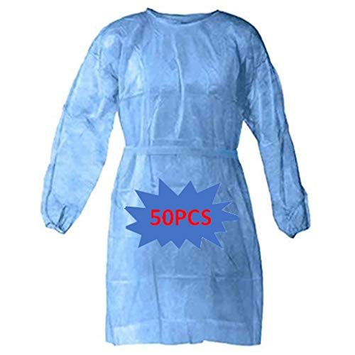 50pcs Disposable Protective Clothing, with Elastic Cuff, Knitted Cuff, Latex- Free, Non-Woven, FluidResistant, Dental, Hospital, Industries, Size Universal (50pcs, Blue)