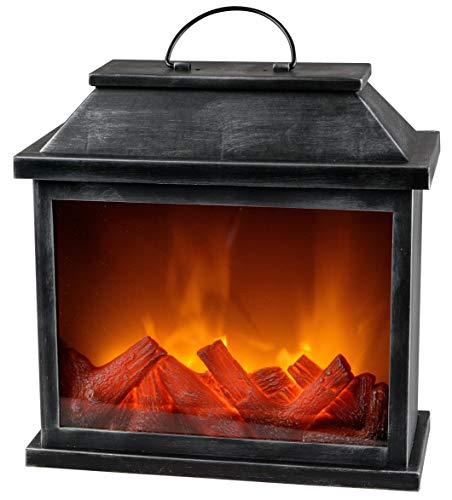 dekojohnson LED-Kamin Laterne Batterie Betrieb ohne Heizung mit 3D Flammen-Effekt - Kaminfeuer mit Timer-Funktion- Feuerlampe Standkamin 30x13x30cm