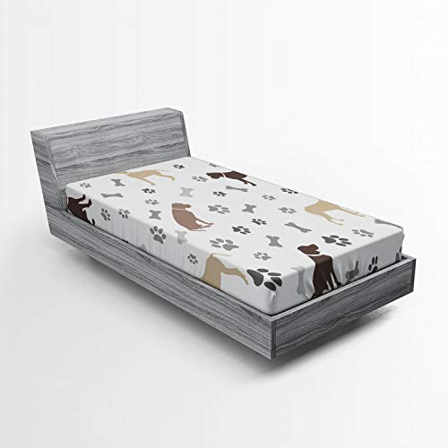 Ambesonne Dog Lover Fitted Sheet, Paw Print Bones and Dog Silhouettes American Foxhound Breed Playful Pattern, Soft Decorative Fabric Bedding All-Round Elastic Pocket, Twin Size, Umber Beige