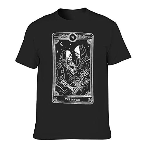 Vintage the Lovers Tarot Card Divination Print Men's T-Shirt Short Sleeve Cotton Adult Shirts - Black - XL