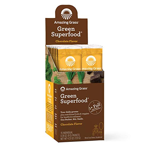 Amazing Grass Green Superfood: Super Greens Powder with Spirulina, Chlorella, Digestive Enzymes & Probiotics, Chocolate, 15 Servings