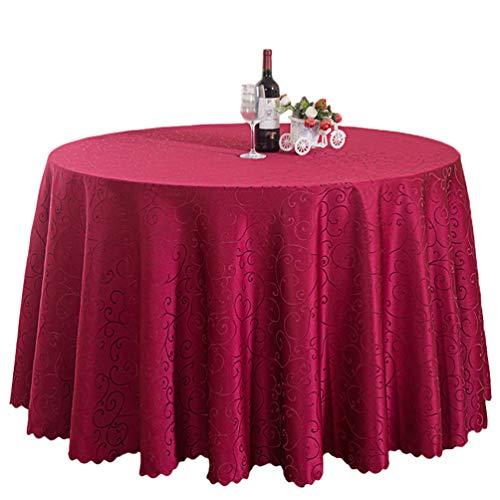 Nother Elegante Einfarbig Drucken Runden Tischdecke Schmutzabweisend Pflegeleicht Tischtuch für Partys Hochzeit Hotel (Wein Rot,340 cm)