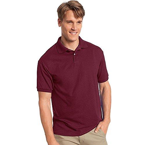 Hanes Cotton-Blend Jersey Men's Polo_Maroon_L