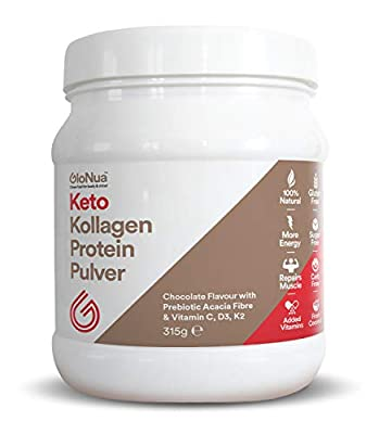 GloNua™ Collagen Protein Powder, MCT Oil Powder, Keto Shake, Zero Carbs, Acacia prebiotic, Healthy Skin, Wrinkles, Nails, Bones, Gut, Muscle & Joint Recovery, Chocolate Flavour.