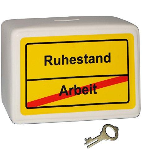 alles-meine.de GmbH große Spardose -  Ortsschild - Ruhestand / Arbeit  - mit Schlüssel und Schloss - stabile Sparbüchse aus Porzellan / Keramik - Sparschwein - Rente / Rentenbe..