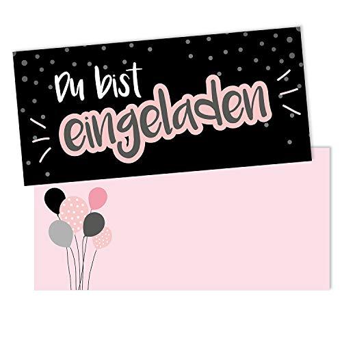 #detailverliebt 15 Einladungskarten mit Umschlägen I DIN lang I Einladung Set Kinder-Geburtstag zum Ausfüllen für Kinder Mädchen schwarz rosa I dv_099 schwarz