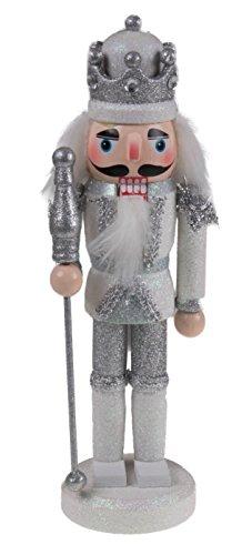 Clever Creations - Traditioneller Nussknacker-König mit silberfarbenem Zepter - Sammlerstück - Festliche Weihnachtsdeko - 100% Holz - glitzernde weiße und silberfarbene Uniform - 24,1 cm