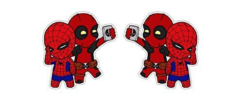 Deadpool und Spiderman Selfie Dude Heroes Superheld Comic Aufkleber Sticker Decal Autocollants / Plus Schlüsselringanhänger aus Kokosnuss-Schale / Auto Motorrad Helm Laptop Notebook Koffer Skateboard