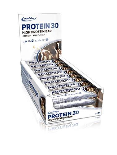 IronMaxx Protein 30 – Proteinriegel mit weniger als 1g Zucker (zuckerarm) & ohne Palmöl – weicher Eiweißriegel – Zusatz von Vitaminen – high Protein – Tray mit 24 x 35g Riegeln in Cookies and Cream