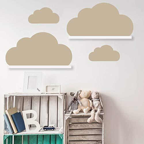 Wolken Set Wandtattoo Passend für Deine IKEA RIBBA/MOSSLANDA Bilderleisten für Babyzimmer Kinderregale (Beige)