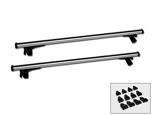 HS Power 50' Silver Aluminum Window Frame Roof Rail Rack Cross Bars Cargo Carrier Kit C1