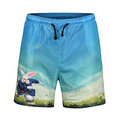 3D Lapin de Bande Dessinée Impression Shorts D'été Maillots De Bain Beachwear Séchage Rapide Pantalon de Plage Taille M