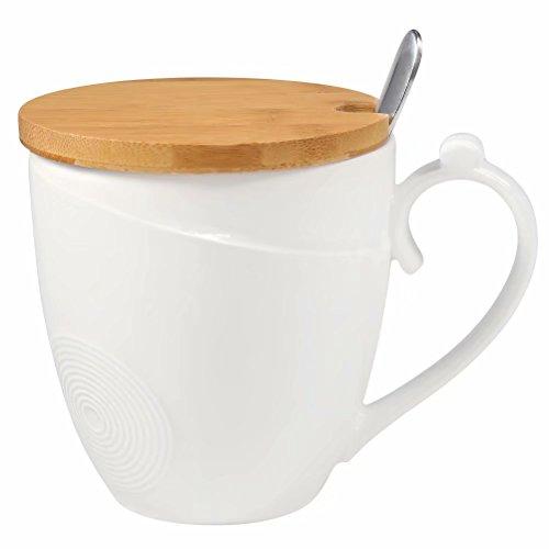 77L Taza de café con tapa y cuchara, taza de café de cerámica con tapa de bambú y cuchara - leche de cerámica, taza de té con cuchara y tapa para el hogar - 1.46 taza (350 ML, 11.8 OZ), blanco