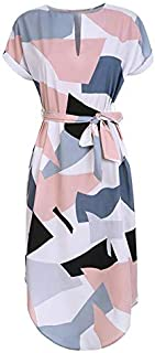 BEESCLOVER Women Midi Pencil Dress Summer Geometric Multi-Color Mid-Calf Length Stand Collar Novelty Geometric Pencil Dress