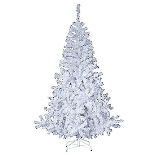 Sapin de Noël artificiel BLANC Hauteur 1m80 - 650 Branches - Pied métal - qualité supérieur